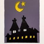 moon 今日のお月さまはまさにこんな感じだよ。さてこの作品のお月様は、上弦の月、下弦の月、どっちでしょう?