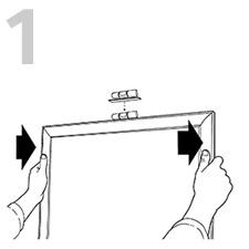 位置を決めて額を押し当てて壁に目印を付ける
